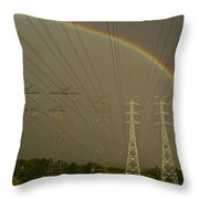 A Vast Array Of Electrical Towers Throw Pillow