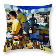 A Vendor At The Garlic Fest Offers Garlic Vinegar And Olive Oil For Sale Throw Pillow