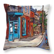 A Vendre Petits Formats L'art De Montreal Originals For Sale Wilensky's Diner Best Montreal Scenes Throw Pillow