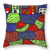 A Very Colorful Neighborhood Throw Pillow