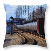 A Very Long Line Of Tanker Cars Throw Pillow