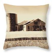 A Very Old Barn And Silo Throw Pillow