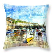 Porthleven - A View Across The Harbour Throw Pillow