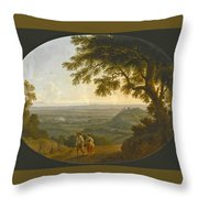 A View Across The Alban Hills With A Hilltop On The Right And The Sea In The Far Distance Throw Pillow