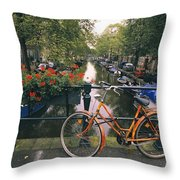 A View Down The Keizersgracht Canal Throw Pillow