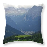 a view from 2200 meter altitude in the dolomite mountains of Italy Throw Pillow