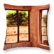 A View From An Abandoned House Throw Pillow