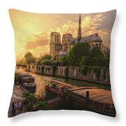 A View From Bridge Pont De L Archeveche, Archbishop Bridge, Infront Of Notre Dame De Paris Cathedr Throw Pillow