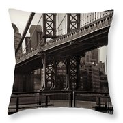 A View From The Bridge - Manhattan Bridge New York Throw Pillow