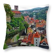 A View Of Cesky Krumlov And Castle In The Czech Republic Throw Pillow
