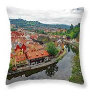 A View Of Cesky Krumlov And The Vltava River In The Czech Republic Throw Pillow