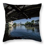 A View Of Chicago From Under The Division Street Bridge Throw Pillow