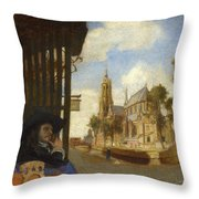 A View Of Delft With A Musical Instrument Seller's Stall Throw Pillow