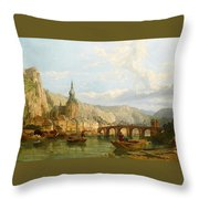 A View Of Dinant Throw Pillow