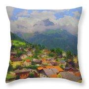 A View Of Engelberg Switzerland Throw Pillow
