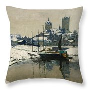 A View Of Neuss In Winter Throw Pillow