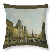 A View Of Piazza Navona With Elegantly Throw Pillow