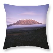 A View Of Snow-capped Mount Kilimanjaro Throw Pillow