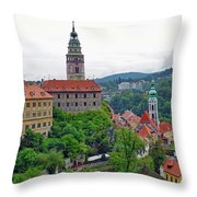 A View Of The Cesky Kromluv Castle Complex In The Czech Republic Throw Pillow