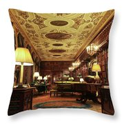 A View Of The Chatsworth House Library, England Throw Pillow