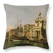 A View Of The Dogana And Santa Maria Della Salute Throw Pillow by Antonio Canaletto