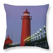 A View Of The Grand Haven Lighthouse Throw Pillow by Ira Block