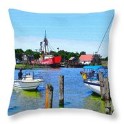 A View Of The Light Ship Throw Pillow