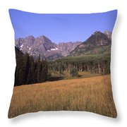 A View Of The Maroon Bells Mountains Throw Pillow