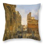 A View Of The Piazza Della Signoria Throw Pillow