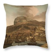 A View Of The Rock Of Gibraltar From The Spanish Lines 1782 Throw Pillow