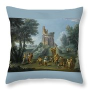 A View Of The Sedia Del Diavolo With Peasants  Throw Pillow