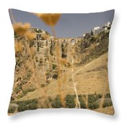 A View Of The Tajo De Ronda And Puente Nuevo Bridge Serrania De Ronda Andalucia Spain Throw Pillow