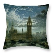 A View Of Westminster Abbey And The Houses Of Parliament Throw Pillow by John MacVicar Anderson