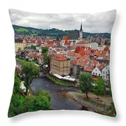 A View Overlooking The Vltava River And Cesky Krumlov In The Czech Republic Throw Pillow
