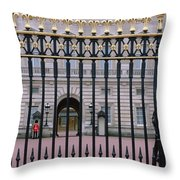 A View Through The Gates At Buckingham Throw Pillow
