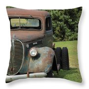 A Vintage Truck On A Yard Throw Pillow