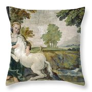 A Virgin With A Unicorn Throw Pillow