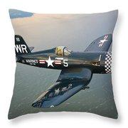 A Vought F4u-5 Corsair In Flight Throw Pillow by Scott Germain