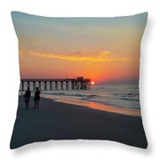 A Walk At Sunrise - Avalon New Jersey Throw Pillow