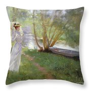 A Walk By The River Throw Pillow
