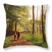 A Walk In The Forest Throw Pillow by Niels Christian Hansen
