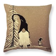 A Walk In The Snow Throw Pillow by Ginny Youngblood