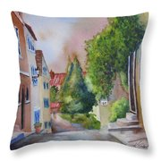 A Walk In The Village Throw Pillow