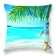 A Walk On Waikiki Beach #190 Throw Pillow