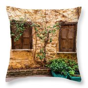 A Wall In Chania Throw Pillow