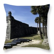 A Wall Of The Castle At San Marcos Throw Pillow