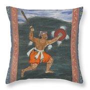 A Warrior Brandishing A Sword Throw Pillow