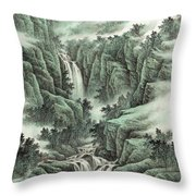 A Waterfall In The Mountains Throw Pillow