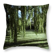 A Weeping Willow Casts Long, Cool Throw Pillow