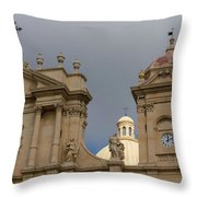 A Well Placed Ray Of Sunshine - Noto Cathedral Saint Nicholas Of Myra Against A Cloudy Sky Throw Pillow